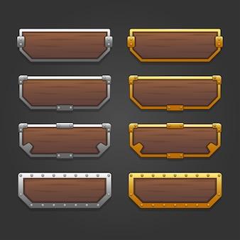 Набор иконок для изометрических игровых элементов, красочные изолированные векторные иллюстрации кнопок с золотой и серебряной рамкой для абстрактной плоской игровой концепции
