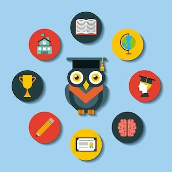 Icons set graduate owl