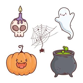 Icons set of happy halloween celebration