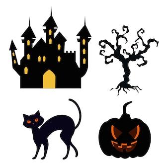 Icons set of happy halloween