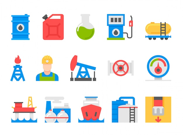 Icons set of heavy industry, mining resources, tanker and fuel, energy industry.