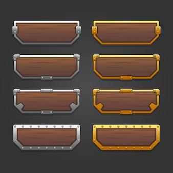 Icons set for isometric game elements, colorful isolated vector illustration of gold and silver frame buttons for abstract flat game concept