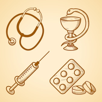 Icons set of medical items