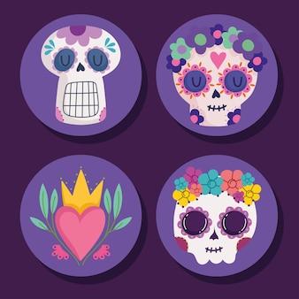 Набор иконок мексиканские черепа