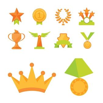 Набор иконок золотых кубков спортивной награды в современном плоском стиле