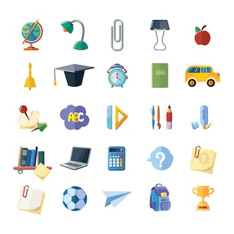Icons set of school elements