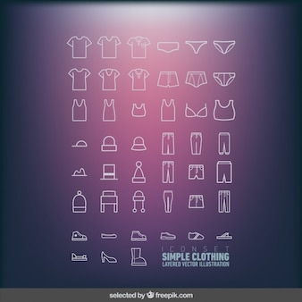 Icons set of simple clothing
