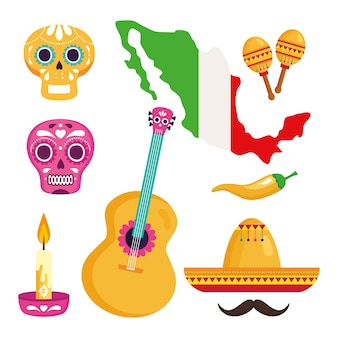 Icons set traditional for celebration of independence mexico.