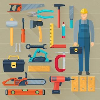 Set di icone con kit di strumenti di carpenteria per la lavorazione del legno
