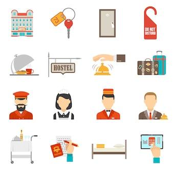 Отель icons set