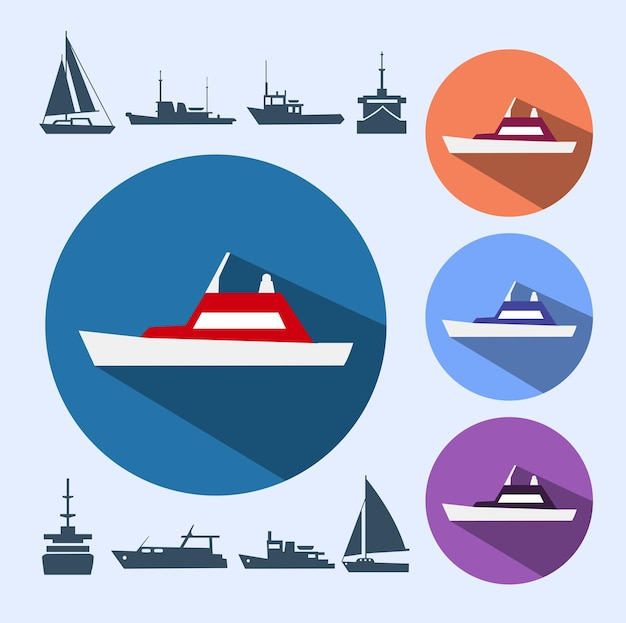 Icons ships, consisting of naval ships, navy vessels, yachts and cruise ships, ships and pleasure boats for a cruise.