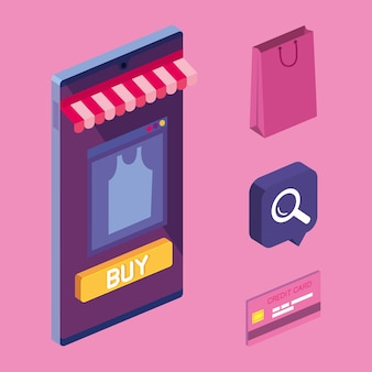 Icons of shopping online