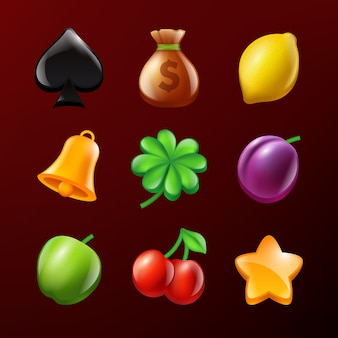 Icons of slot machine. set of vector realistic pictures
