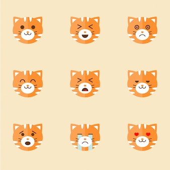 Icons of smiley cat faces