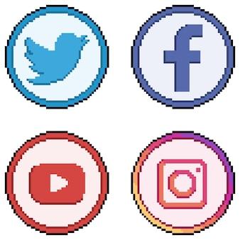 픽셀 아트의 소셜 미디어 및 소셜 네트워크 아이콘