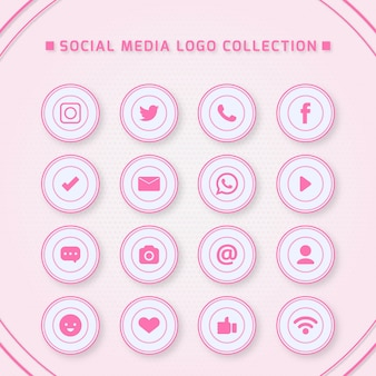 Icons for social networking with pink colors