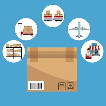 Icons storage logistics and closeup of carton box closed