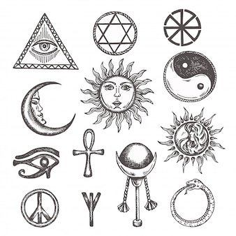 Icons and symbols of white magic, occult, mystic, esoteric, masons eye of providence.