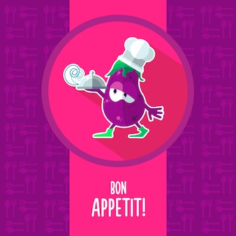 Icons on a theme kitchen with funny chef eggplant