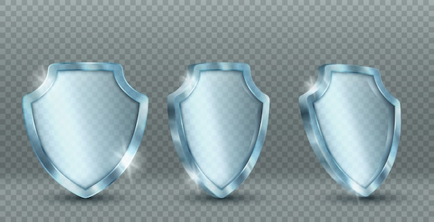 Icons of transparent glass shield