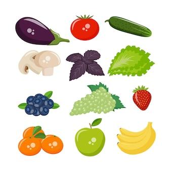 귀하의 디자인에 대 한 아이콘 야채, 과일, 버섯 및 열매. eps10 벡터
