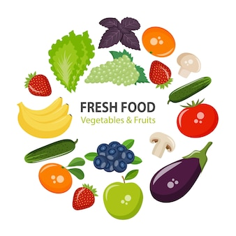 Icons vegetables, fruits, mushrooms and berries for your design. eps10 vector