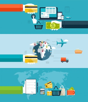 Icons for web and mobile design,  seo, delivery of goods motor transport, by air transport, water transport. electronic payment methods in internet and shopping. flat design