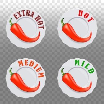 칠리 페퍼 향신료 수준 아이콘입니다. 매운 음식을 포장하기 위한 고추 기호. 후추 소스 스티커.