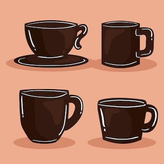 Icons with coffee cups