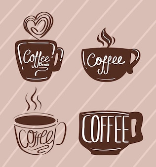 Icons with cups of coffee