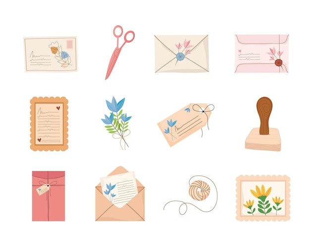 Icons with envelopes with postmarks