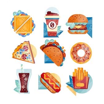 ファーストフードとドリンクのアイコン。サンドイッチ、コーヒー、ハンバーガー、ピザ、タコス、ドーナツ、ソーダ、ホットドッグ、フライドポテト。不健康な栄養