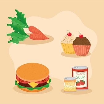 Icons with food to prepare