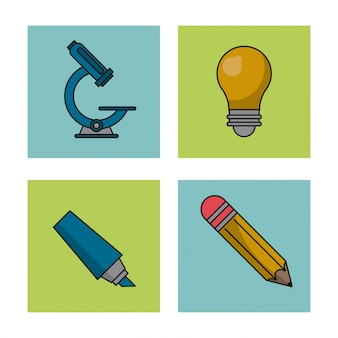 Icons with microscope and light bulb and pencil and color marker