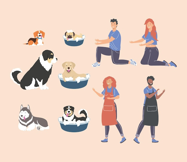 Icons with people and dogs
