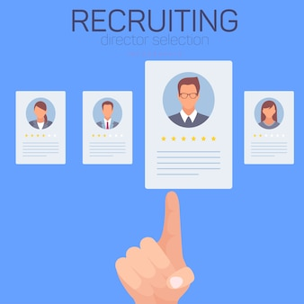 Icons with workers on blue background. recruting.