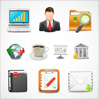 Icons workplace, items of business  illustration