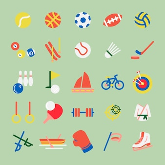 Иллюстрация набор хобби и спортивных iconsa