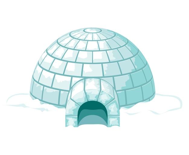 얼음처럼 차가운 집이나 집, 얼음 블록으로 지어진 겨울. 이글루 그림