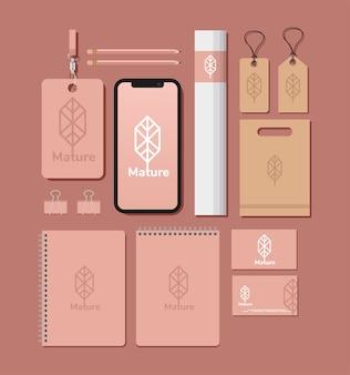 Id badge with bundle of mockup set elements in red illustration design