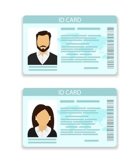 Idカード。男性用と女性用のカード。