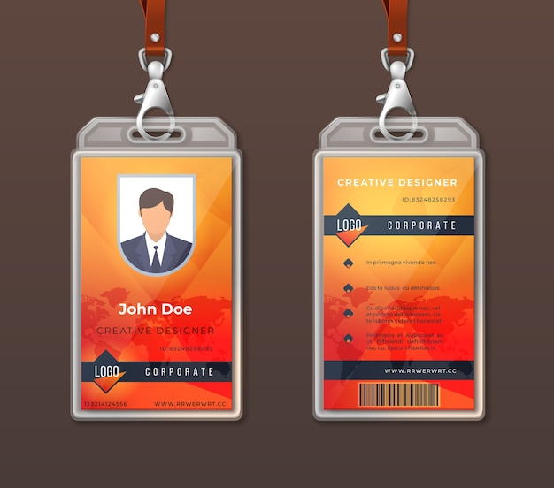 Id card corporate identity. employee access badge design template, office identification tag layout.
