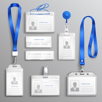 Id card holders realistic set