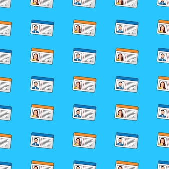 Id card seamless pattern on a blue background. personal identity theme vector illustration