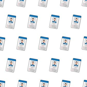 흰색 배경에 id 카드 원활한 패턴입니다. 남성 개인 정체성 테마 벡터 일러스트 레이 션