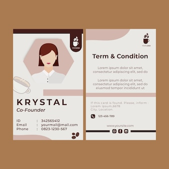 Id card template for coffee shop