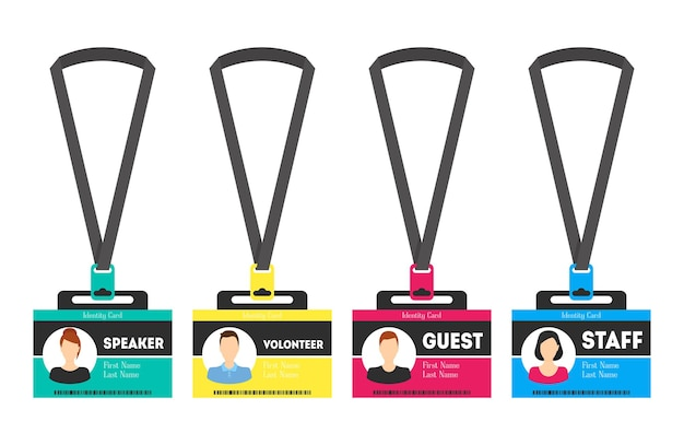 Id card template color plastic badge flat style design element for speaker, guest, staff and volunteer. vector illustration