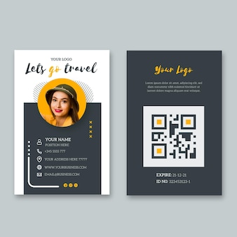Id card template for last minute travel