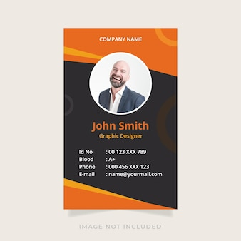 Id card template with abstract design