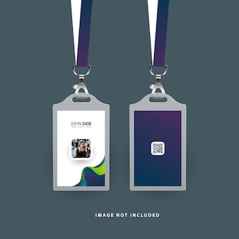 Id card template with abstract shapes and gradient color